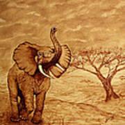 Elephant Majesty Original Coffee Painting Art Print