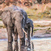 Elephant Mother And Calf Art Print