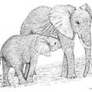 Elephant Mother Art Print