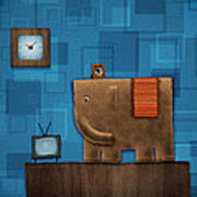 Elephant On The Wall Art Print by Gianfranco Weiss