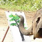 Elephant Charlie Paints The Tree Of Life Art Print