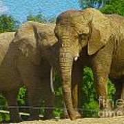 Elephant Snuggle Art Print