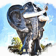 Elephant Statue Art Print