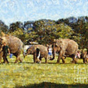 Elephant Train  Art Print