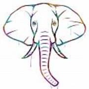 Elephant Watercolors - White Background Art Print
