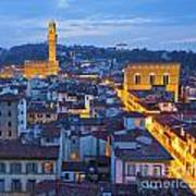 Elevated Night View Of Central Florence Art Print