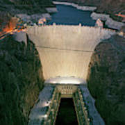 Elevated View At Dusk Of Hoover Dam Art Print