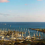 Elevated View Of Boats At A Harbor Art Print