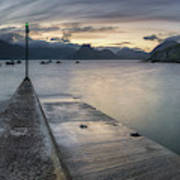 Elgol Pier And Boats With Cuillin Art Print