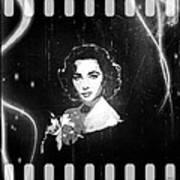 Elizabeth Taylor - Black And White Film Art Print by Absinthe Art By Michelle LeAnn Scott