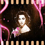 Elizabeth Taylor - Pink Film Art Print by Absinthe Art By Michelle LeAnn Scott