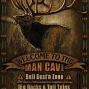 Elk Man Cave Sign Art Print