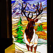 Elk Stained Glass Window Art Print