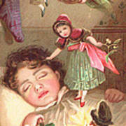 Elves Delivering Christmas Gifts Art Print by English School