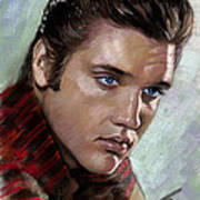 Elvis King Of Rock And Roll Art Print