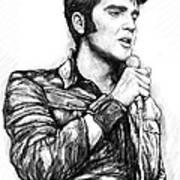 Elvis Presley Art Drawing Sketch Portrait Art Print