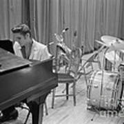 Elvis Presley On Piano Waiting For A Show To Start 1956 Art Print