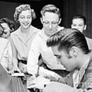Elvis Presley Signing Autographs For Fans 1956 Art Print