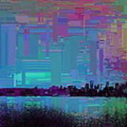Emerald City Skyline Cubed Art Print