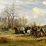 Emperor Franz Joseph I Of Austria Hunting To Hounds With The Countess Larisch In Silesia Art Print by Emil Adam