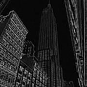 Empire Nyc White On Black Art Print