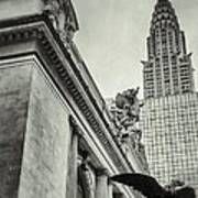 Empire State Building And Grand Central Station Vintage Black And White Art Print by For Ninety One Days