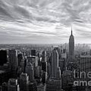 Empire State Building And Midtown Manhattan Black And White Art Print