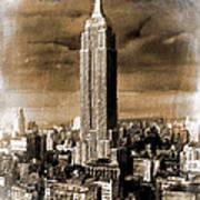 Empire State Building Blimp Docking Sepia Art Print