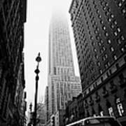 Empire State Building Shrouded In Mist And Nyc Bus Taken From 34th And Broadway Nyc New York City Art Print by Joe Fox