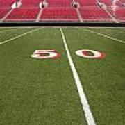 Empty American Football Stadium 50 Yard Line Art Print