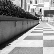 Empty Footpath Leading Towards Buildings On Sunny Day Art Print