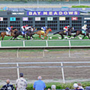 End Of An Era At Bay Meadows With Their Last Horse Race Art Print