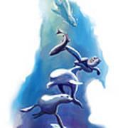 endangered sea life Water colour giclee print with eye and sea mammals Ocean Tears Art Print