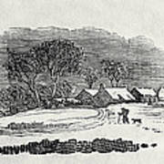 Endpiece, Late 18th Or Early 19th Century Wood Engraving 99;landscape; Winter; Figure; Snow; Snowy; Art Print