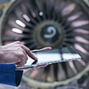 Engineer Using Digital Tablet In Front Art Print