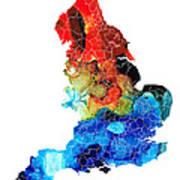 England - Map Of England By Sharon Cummings Art Print