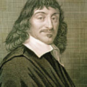 Engraving Of French Mathematician Rene Descartes Art Print