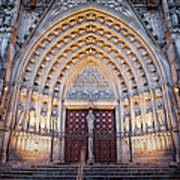Entrance To The Barcelona Cathedral At Night Art Print