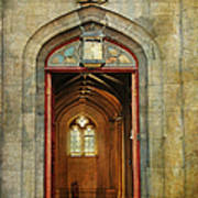 Entrance To The Gothic Revival Chapel. Streets Of Dublin. Painting Collection Art Print