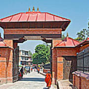 Entry To Pasupatinath Temple Of Cremation Complex In Kathmandu-nepal    Art Print