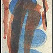 Entwined Figures Series No. 2 Blue Unknown Print by Cathy Peterson