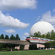 Epcot And The Monorail Ride Art Print