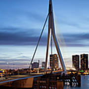 Erasmus Bridge And City Skyline Of Rotterdam At Dusk Art Print