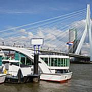 Erasmus Bridge In Rotterdam Downtown Art Print by Artur Bogacki