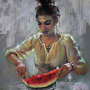 Erbora With Watermelon Art Print
