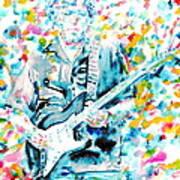 Eric Clapton - Watercolor Portrait Art Print