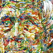 Ernst Junger Watercolor Portrait Art Print