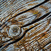 Eroded Old Wooden Board Art Print