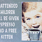 Espresso And Kitten Sign Art Print
