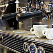 Espresso Machine Pouring Coffee Into Art Print